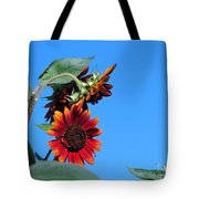 Triple Red Sunflowers Tote Bag