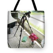 Tripod And Roses On Floor Tote Bag