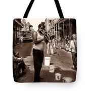 Trombone Man On Royal St. New Orleans Tote Bag