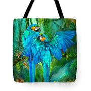 Tropic Spirits - Gold And Blue Macaws Tote Bag