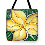 Tropical Abstract Pop Art Original Plumeria Flower Painting Pop Art Tropical Passion By Madart Tote Bag