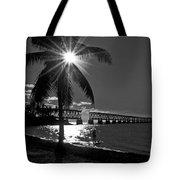 Tropical Bridge In Black And White Tote Bag