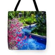 Tropical Garden Around Pool Tote Bag