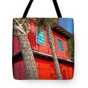 Tropical Orange House Palm Trees - Whoa Now Tote Bag