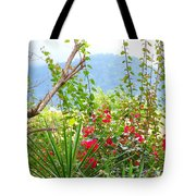 Tropical Red Against Cool Mountain Mists Tote Bag