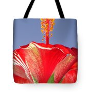 Tropical Red Hibiscus Flower Against Blue Sky  Tote Bag