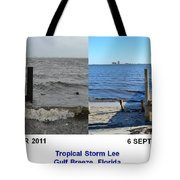 Tropical Storm Lee Difference A Day Makes Tote Bag by Jeff at JSJ Photography