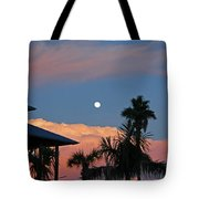 Tropical Sunset With The Moon Rise Tote Bag