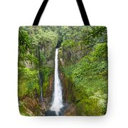 Tropical Waterfall In Volcanic Crater Tote Bag