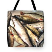 Trout Digital Painting Tote Bag by Barbara Griffin