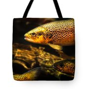 Trout Swiming In A River Tote Bag
