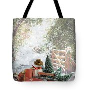 Truck Carrying Christmas Trees Tote Bag