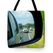 Trucks In Rear View Mirror Tote Bag