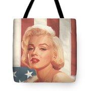 True Blue Marilyn In Flag Tote Bag