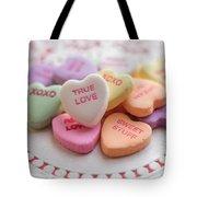 True Love Valentine Candy Hearts Tote Bag