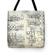 Trumpet Patent Drawing Tote Bag