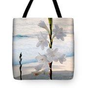 White Trumpet-shaped Flowers At Dana Point Beach California  Tote Bag