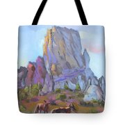 Tucson Butte With Two Coyotes Tote Bag