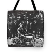 Tucson Police Department  On Steps Of City Hall With 1st Police Motorcycle C. 1917 Tucson Arizona Tote Bag