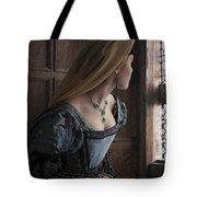 Tudor Woman Spying Through A Window Tote Bag