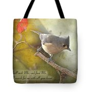 Tuffted Titmouse With Verse Tote Bag