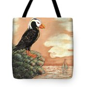 Tufted Puffin At Dusk Tote Bag