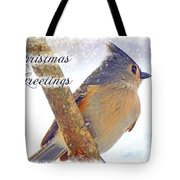 Tufted Titmouse Christmas Card Tote Bag