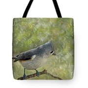 Tufted Titmouse With Decorations Tote Bag