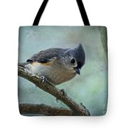 Tufted Titmouse With Snowflake Decorations Tote Bag