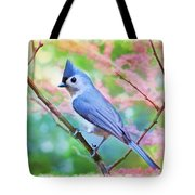 Tufted Titmouse With Spring Booms - Digital Paint II Tote Bag