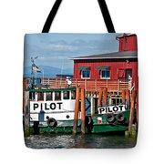 Tug Boat Pilot Docked On Waterfront Art Prints Tote Bag