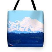 Tug With Mt Baker Tote Bag