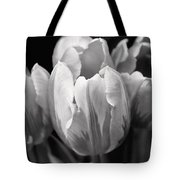 Tulip Flowers Black And White Tote Bag