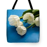 Tulip Flowers Over Blue Tote Bag
