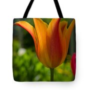 Tulip On The Green Background Tote Bag by Michael Goyberg