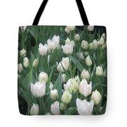 Tulip White Show Flower Butterfly Garden Tote Bag