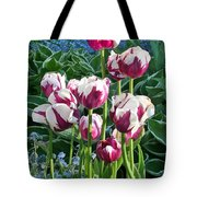 Tulips Among The Forget Me Nots Tote Bag