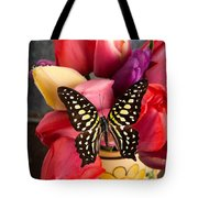 Tulips And Butterflies Tote Bag