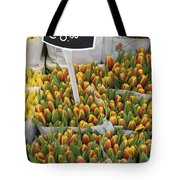 Tulips For Sale In Market, Close Up Tote Bag
