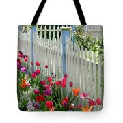 Tulips Garden Along White Picket Fence Tote Bag
