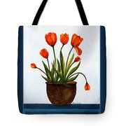 Tulips On A Blue Buffet With Borders Tote Bag by Barbara Griffin