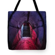 Tunnel And Stairs Bathed In Blue And Red Light Tote Bag