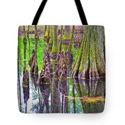 Tupelo/cypress Swamp Reflection At Mile 122 Of Natchez Trace Parkway-mississippi Tote Bag
