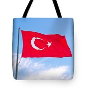 Turkish Flag Flapping In The Wind Tote Bag