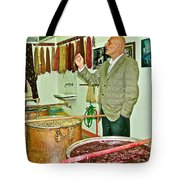 Turkish Rug Salesman Explains About Natural Dye Vats In Weaving Factory In Avanos-turkey  Tote Bag