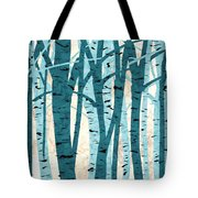 Turquoise Birch Trees Tote Bag