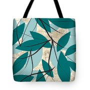 Turquoise Leaves Tote Bag