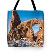 Turret Arch In Winter Tote Bag