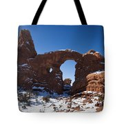 Turret Arch With Snow Arches National Park Utah Tote Bag