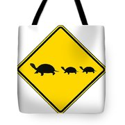 Turtle Crossing Sign Tote Bag